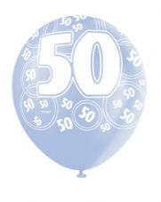 50th Birthday Blue Glitz Latex Balloons 12 inch